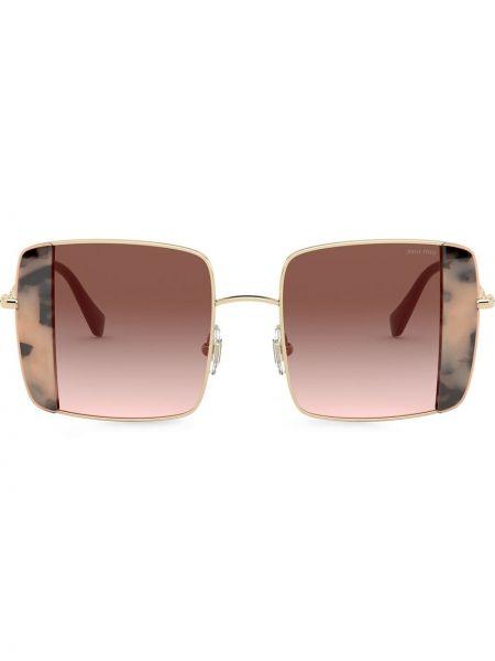 Розовые солнцезащитные очки квадратные металлические Miu Miu Eyewear