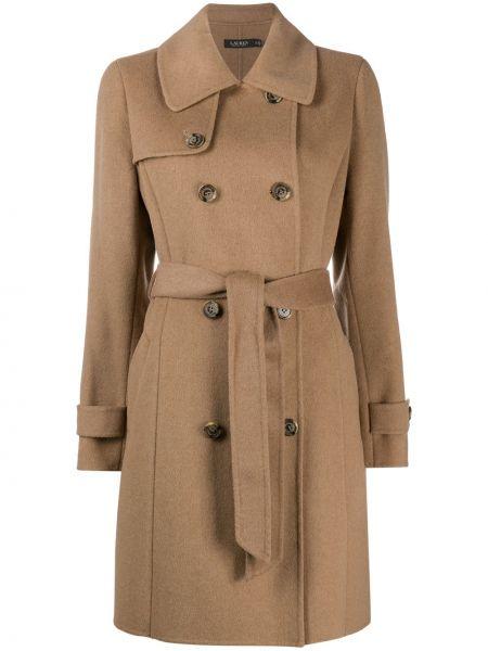 Шерстяное пальто классическое двубортное с воротником Polo Ralph Lauren