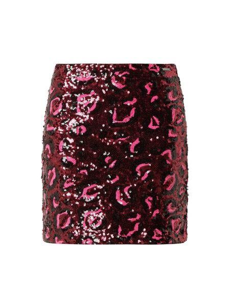 Różowa spódnica mini z cekinami Guess