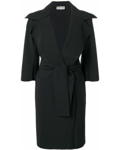 Черное пальто с капюшоном Le Petite Robe Di Chiara Boni