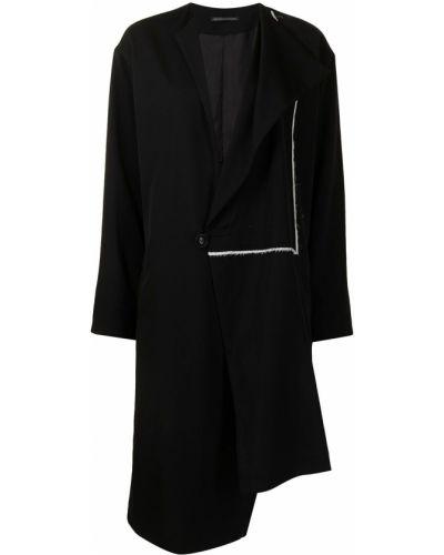 Асимметричное шерстяное черное пальто Y's