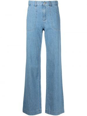 Синие с завышенной талией широкие джинсы с карманами A.p.c.
