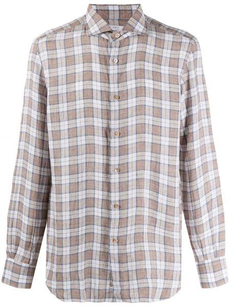 Koszula z długim rękawem w kratę długa Mazzarelli
