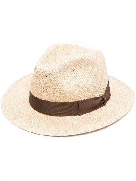 Соломенные шляпа с широкими полями свободного кроя с декоративной отделкой Borsalino
