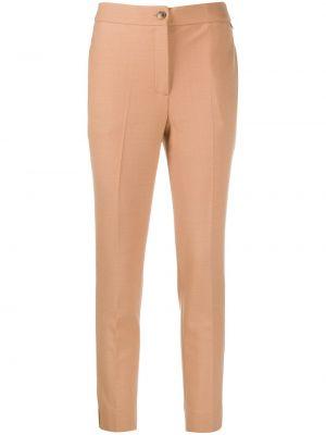 Шерстяные бежевые прямые брюки с карманами Twin-set