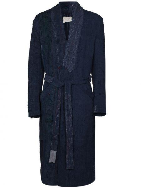 Синий халат длинный Greg Lauren