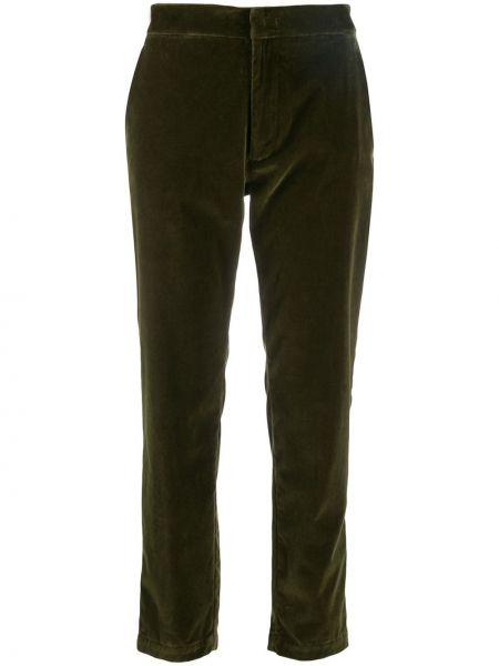 Укороченные брюки зеленый бархатные Barena