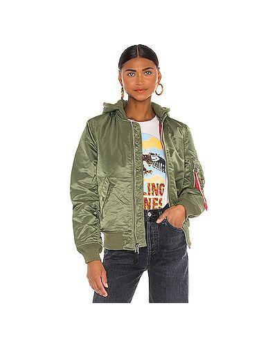 Хлопковая зеленая куртка с капюшоном Alpha Industries