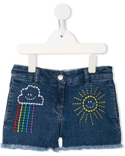 Брендовые хлопковые синие джинсовые шорты Stella Mccartney Kids