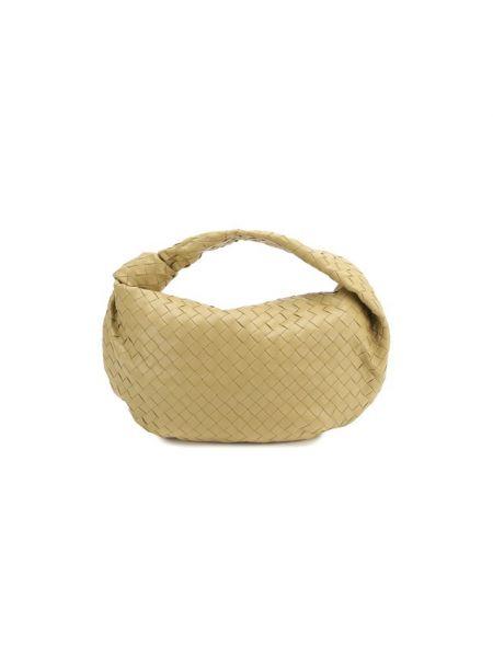 Кожаная бежевая маленькая сумка на молнии Bottega Veneta