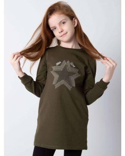 Tunika z długimi rękawami - khaki Fashionhunters