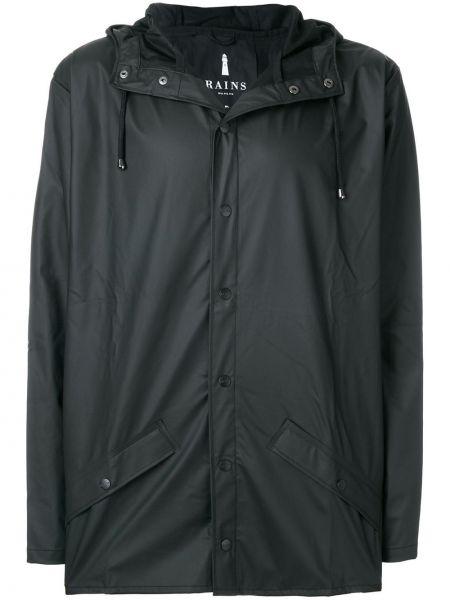 Czarny płaszcz przeciwdeszczowy z kapturem Rains