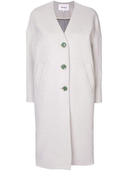 Wełniany długi płaszcz zapinane na guziki z kieszeniami z długimi rękawami Enfold