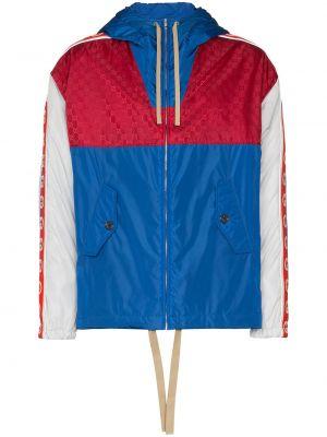 Niebieska kurtka z kapturem z długimi rękawami Gucci