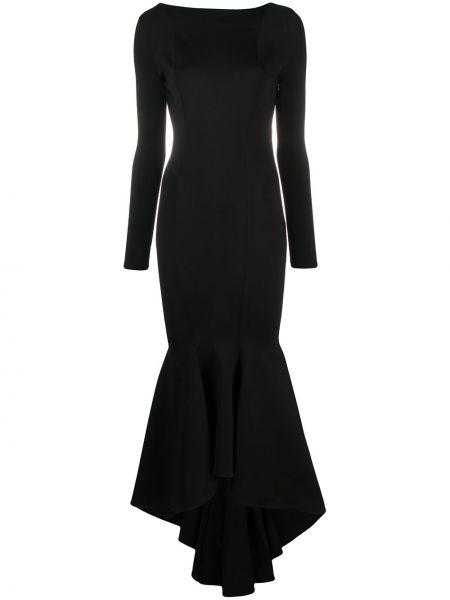 Czarna sukienka midi asymetryczna z długimi rękawami Alexandre Vauthier