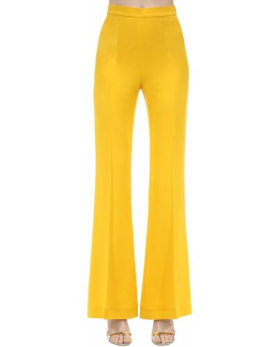 Żółte spodnie z wysokim stanem z wiskozy Marianna Senchina