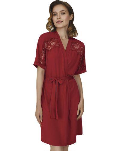 Красный кружевной домашний халат Ellen