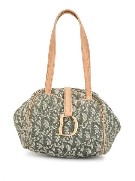 Zielony skórzany torba kosmetyczna prążkowany z łatami Christian Dior