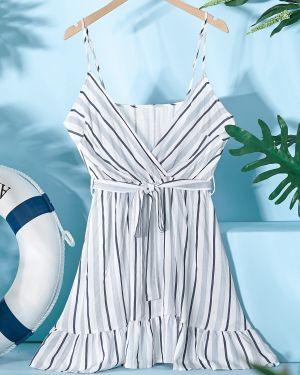 Платье с поясом в полоску с нашивками Zaful