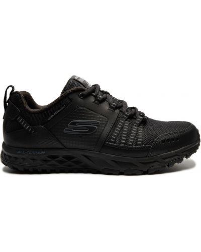 Кожаные черные высокие кроссовки сетчатые Skechers