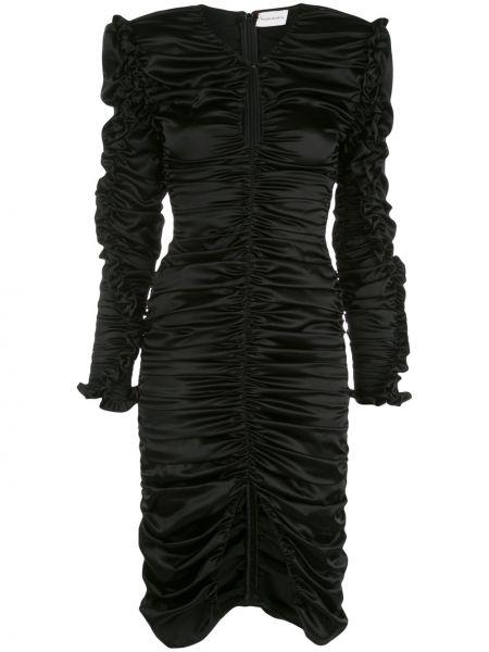 Czarna sukienka koktajlowa z falbanami asymetryczna Magda Butrym