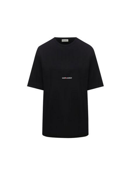 Футболка черная с логотипом Saint Laurent