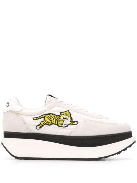 Białe sneakersy na platformie skorzane Kenzo