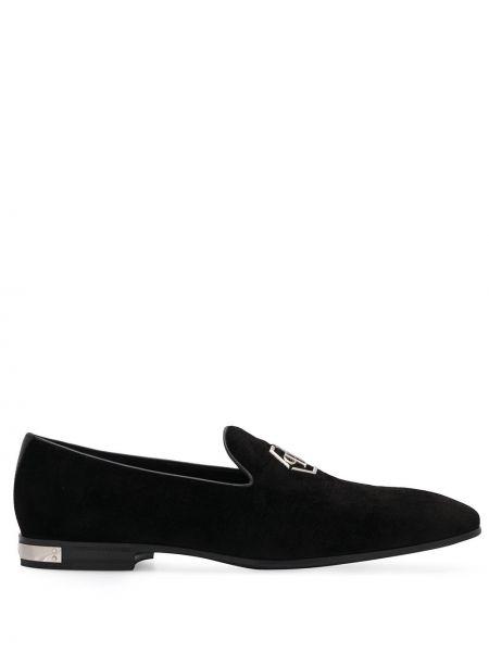Czarne loafers skorzane Philipp Plein