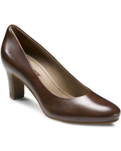 Туфли на каблуке кожаные летние Ecco