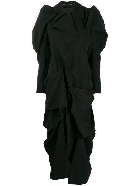 Платье с драпировкой черное Yohji Yamamoto