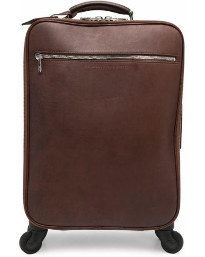 Кожаная коричневая сумка на молнии Brunello Cucinelli