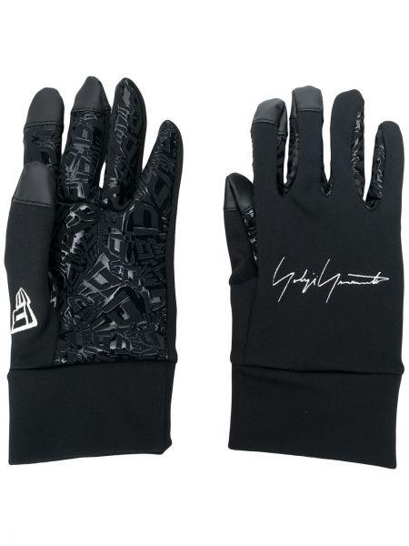 Czarne rękawiczki z printem Yohji Yamamoto
