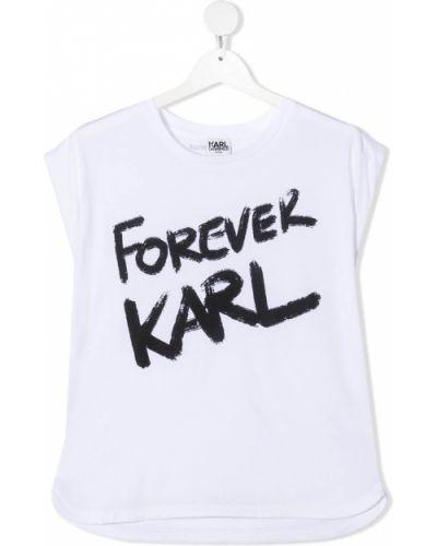 Хлопковый белый топ с круглым вырезом круглый Karl Lagerfeld Kids