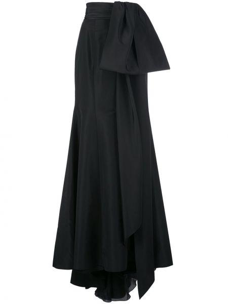 Czarna spódnica mini z wysokim stanem z jedwabiu Carolina Herrera