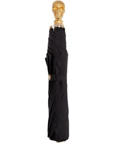 Nylon czarny parasol z czaszkami Alexander Mcqueen