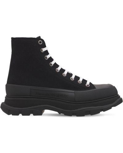 Черные кожаные кроссовки Alexander Mcqueen