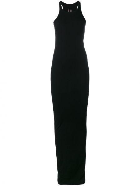 Хлопковое приталенное черное платье Rick Owens Drkshdw