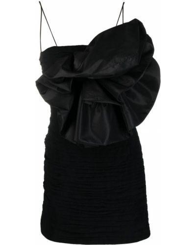 Шелковое черное платье мини без рукавов Magda Butrym