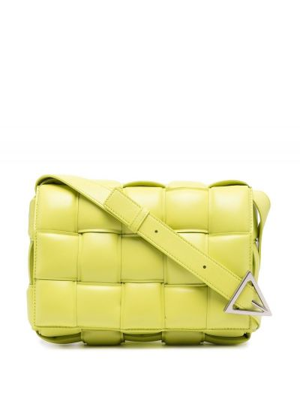 Плетеная зеленая кожаная сумка на плечо Bottega Veneta