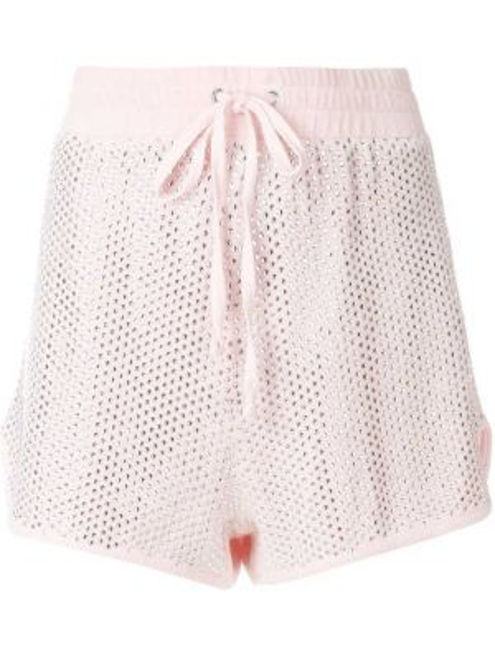 Велюровые розовые спортивные шорты на шнурках с декоративной отделкой Juicy Couture