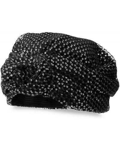 Włókienniczy czarny turban Maison Michel