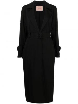 Czarny długi płaszcz z wiskozy z długimi rękawami Twin Set