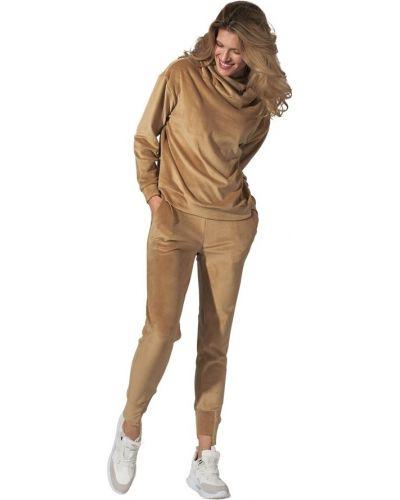 Beżowe spodnie z wiązaniami Figl