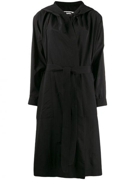 Черное длинное пальто с капюшоном Mcq Alexander Mcqueen