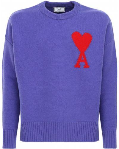 Wełniany fioletowy sweter Ami Alexandre Mattiussi