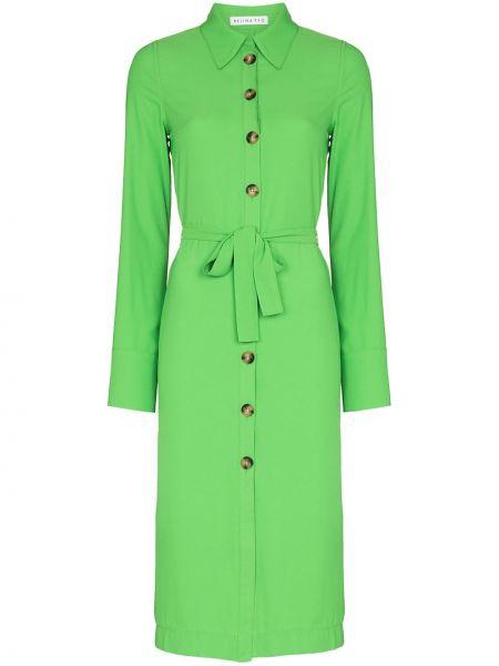 Zielona sukienka midi zapinane na guziki Rejina Pyo