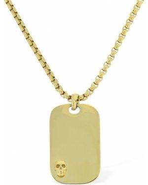 Żółty złoty naszyjnik pozłacany Northskull