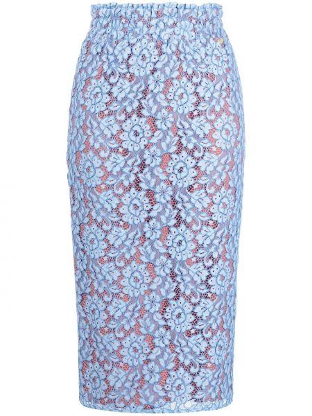 Кружевная синяя с завышенной талией юбка карандаш Liu Jo