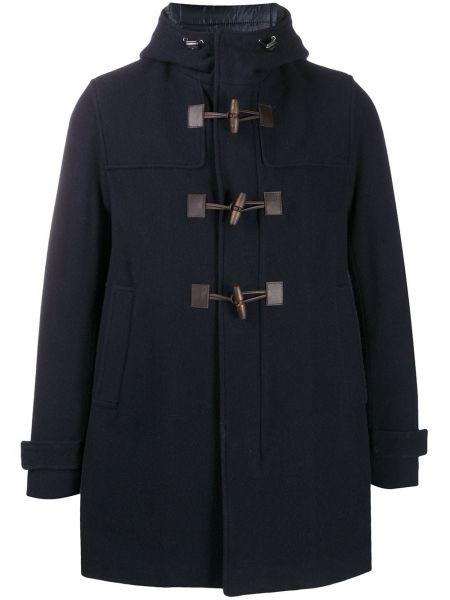 Niebieski klasyczny wełniany długi płaszcz z kieszeniami Herno