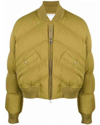 Prążkowany zielony płaszcz Bottega Veneta